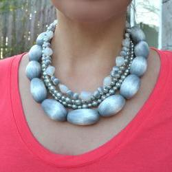 Polymer Clay, Glass, and Pearl Necklace. 