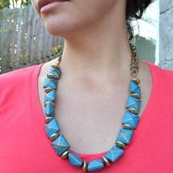 Golden X Turquoise Goddess Necklace